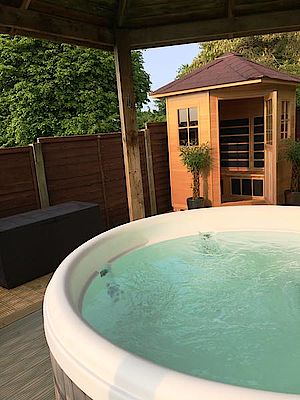 The Garden Spa view of hot tub and sauna